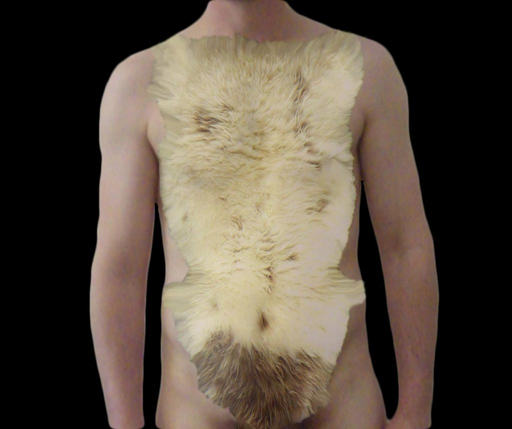 Lambkini on male ready for the beach beachwear for men, made from sheepskin.