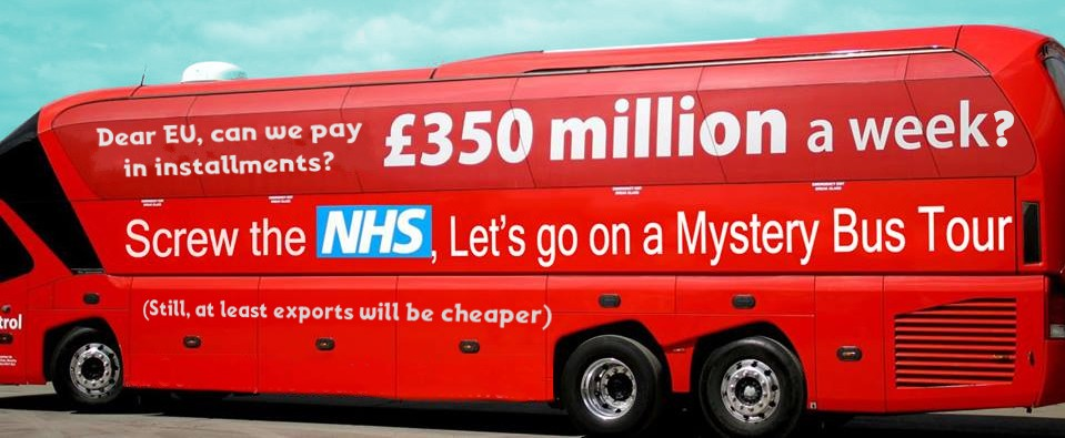 bright red coach photoshopped to look like Brexit bus, says hey europe, do you mind if we pay in installments? £350 million a week?