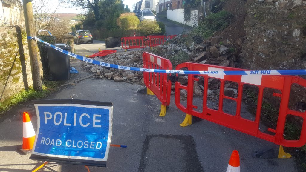 Collapsed wall in Totnes Maudlin Road