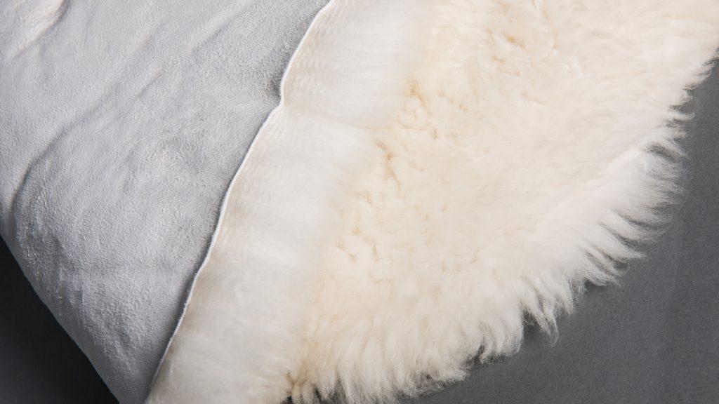 sheepskin folded over to show hide