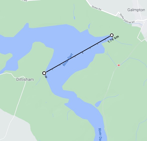 The widest point of the River Dart 1.79km